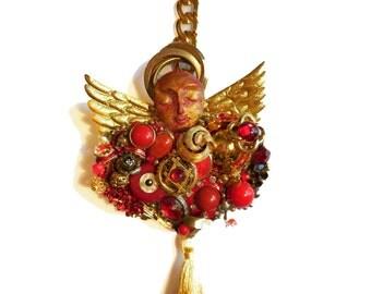 Angel Wall Art JULY Birthstone Gift, Guardian Angel, Costume Jewelry Art, Altered Art, JEWELRY COLLAGE, Junk Jewelry Art, Jewelry Assemblage