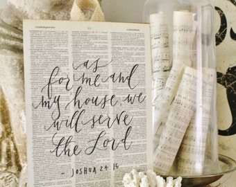As For Me And My House We Will Serve The Lord Vintage Dictionary Book Page Wall Art Print Farmhouse Decor Wedding Bible Scripture Verse