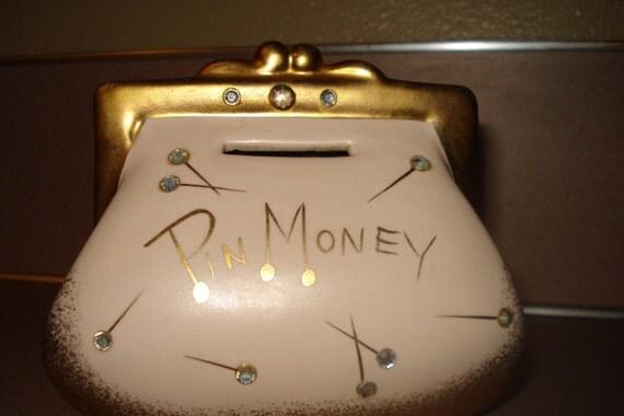 Vintage Pin Money Purse Handbag Piggy Bank Rhinestone Pink W
