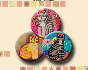 FUNKY CATS  -  Digital Collage Sheet 30mm round images for earrings, bracelets, pendants, round bezels, etc. Instant Download #213.
