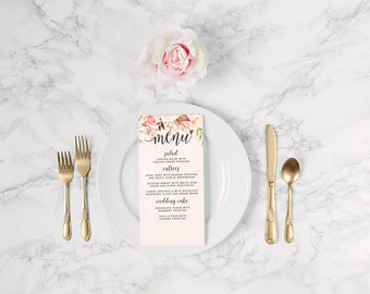 Watercolor Wedding Menu DEPOSIT, DIY, Rustic, Boho Chic, Floral, Bohemian, Eloped, Printable, Custom (Wedding Design #64)