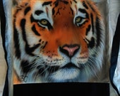Tiger backpack/sport bag hand painted airbrushed canvas two-tone black & natural color painted with tiger colors black tiger stripes