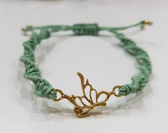 Light Green Macrame Bracelet with Gold Butterfly Center