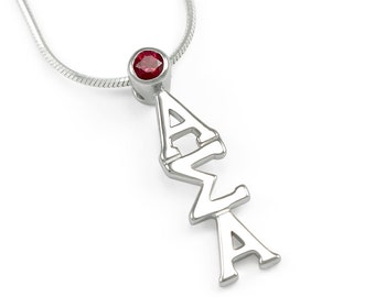 Alpha Sigma Alpha Sterling Silver Lavaliere with Swarovski Red Crystal // ΑΣΑ Sorority Jewelry // Sorority lavaliere // Sorority Gifts