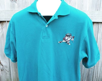 Vintage Teal Green Polo Shirt Tasmanian Devil Golf Shirt Men Sz Medium