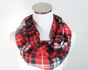 Red Plaid Flannel  Tartan Scarf.Red Infinity Scarf, Red Plaid Infinity Scarf, Tartan Scarf, Plaid Scarf, Loop Plaid Scarf , Circle Scarf.