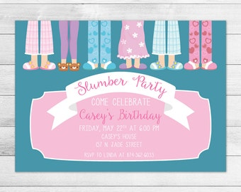 Sleepover, Slumber Party Birthday Party Invitation, Printable Digital Invite File, Girl, Pink & Teal