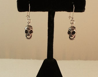 3D Grinning Skull Earrings Silver Skull Earrings Anatomical NY