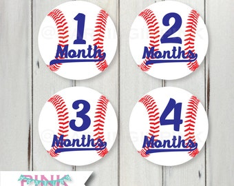 Monthly Baby Milestone Stickers – Baseball - Red White & Blue - Bodysuit 1-12 months 13-24 1-24 Photo Prop Belly Sticker Pregnant Sports MLB