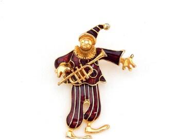 Vintage Enamel Clown Pin Brooch, Articulated Clown Musician Pin, Enameled Clown with Trumpet, Enameled Clown Brooch, Estate Jewelry