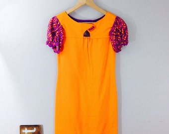 Orange 60s GoGo Mini, Mod Dress, Short Puff Sleeve, Twiggy Style Dress, Handmade Vintage, Psychedelic, Hippie, Size 0, Size 2, XS, X-Small