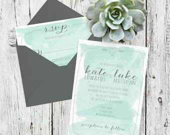 Watercolor Calligrahy Hand Lettered Wedding Invitation RSVP Suite - Printable