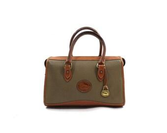 Dooney & Bourke speedy bag • 1990s leather satchel • Dooney Bourke purse • textured taupe bag