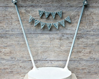 Just Married Wedding Cake Bunting, Cake Topper, Wedding Cake Bunting