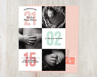 Birth Announcement Girl in Pink, Coral & Mint, Modern Clean Simple Design, 3 Photo, printable or printed card