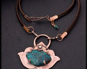 Rustic Copper Necklace: Lotus Necklace - Oxidized Copper Jewelry - Unique Talisman Necklace - Statement necklace - Chrysocolla pendant