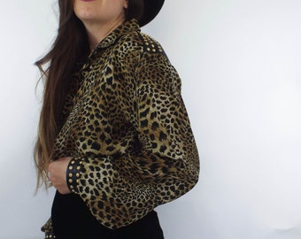 Vintage Silk and Leather Leopard Print Studded Button Down Blouse