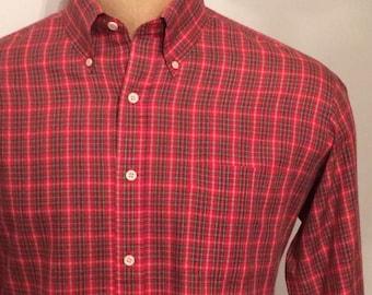 Vintage MENS 1970s Sears long sleeve red plaid shirt