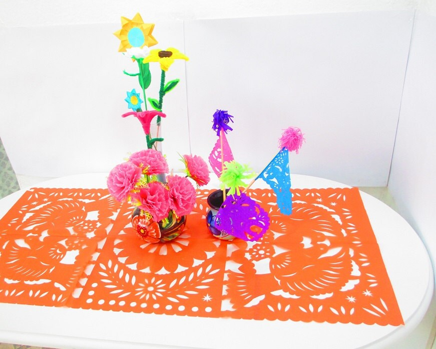 Decoraci n de la boda mexicana camino de mesa naranja papel - Caminos de mesa de papel ...
