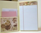 Handmade Note Pad cover and Card - Notes - Jr legal Ruled Perforated Note Pad included and Card w envelope