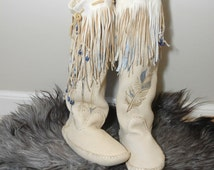 Handmade Fringed Moccasins Size 10 - Tall boot moccasins