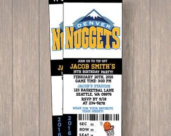 12 PER PACK Birthday Party Invitations, Denver Nuggets Birthday Ticket, Birthday Invitation, Denver Nuggets