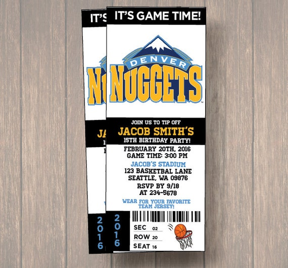 Denver Nuggets Schedule: 12 PER PACK Birthday Party Invitations, Denver Nuggets