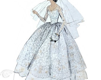 50s Vogue Wedding dress sewing pattern 9084, bust 31 inches, bridal gown patterns