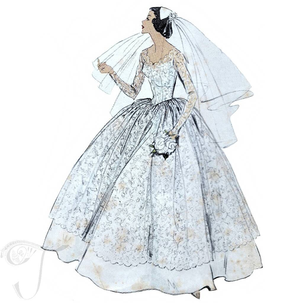 50s vogue wedding dress sewing pattern 9084 bust 31 inches. Black Bedroom Furniture Sets. Home Design Ideas