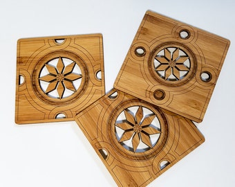 Minton Coasters in eco friendly bamboo, trivet, table accents, housewarming gift, wood coasters, barware, drinks, cocktail accessories