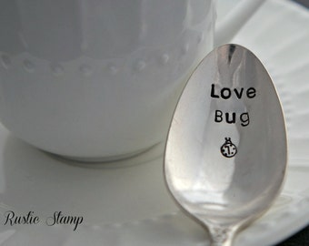 Love Bug, Stamped Spoon, Vintage Spoon, Coffee Spoon, Tea Spoon, Stamped Flatware, Gift for Him, Gift for Her, Valentine's Day Gift