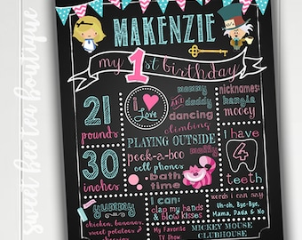 Alice in Wonderland Theme 1st First Birthday Chalkboard Poster Board - Boy or Girl Party - Custom Printable - Photo Prop - Tea Party