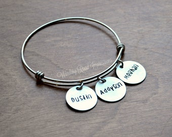 Style SIX- Personalized Hand Stamped Stainless Steel Expandable Bangle Bracelet