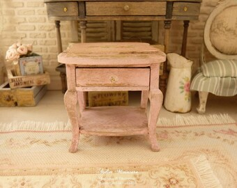 Miniature bedside or coffee table in wood, Distressed pink, Furniture for a French dollhouse in 1:12th scale