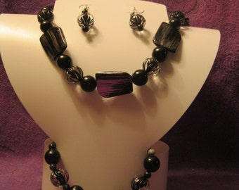 BLACK SILVER and CLEAR Jewelry Set