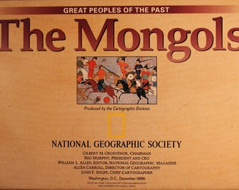 The Mongols Vintage map / National Geographic/ Cartography/ maps/ Chinese history/ Mongolian history/ Genghis Khan/ Ogodei/ Guyuk/ Mongke