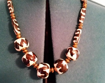 African Brown White Kazuri Beads from Kenya - 23 Inch Necklace - Handmade - Hand Painted