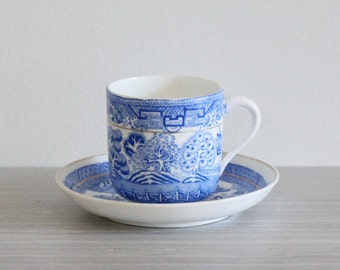 Stunning Vintage Blue Willow Fine China Demitasse and Saucer in Classic Chinoiserie Motif