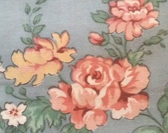 """Floral Flowers ~ Blue Rose Pink ~ Vintage Cotton Home Décor Fabric ~ Companion Print ~ Weilwood Fabric ~ 4 2/3 yds x 44"""""""