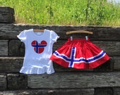 Norway Mouse Head Shirt + Coordinating Norway Flag Twirl Skirt.  6m-12yrs.  By Hoot n Hollar Children's Clothing