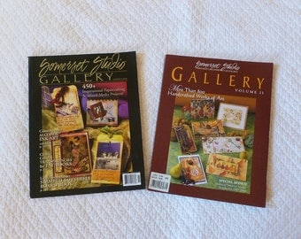2 Somerset Studio Gallery Magazines~~~Papercrafting Instruction Book~Mixed Media Idea Book~Craft Supply Magazine~Scrapbook Resource Guide
