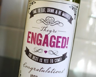 Rustic Wedding Engagement Wine Labels // They're Engaged // Engagement