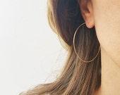"""Gold Hoops Earrings, Big Wire Earrings, 14K Gold Filled Hoops, Earrings For Women, 2"""" Simple Hoop Earrings, Large Hoop Earrings, Thin Hoops"""