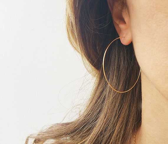 Gold Hoops Earrings Big Wire Earrings 14K Gold Filled Hoops