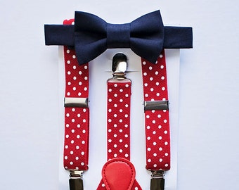 Boys - Men Navy Bow Tie Red White Suspenders, Boys Christmas Outfit, Boy Cake Smash Outfit, Ring Bearer, Baby Boy Bow Tie, Kids Suspenders
