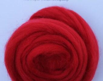 CRIMSON RED - Merino Wool Roving 1oz