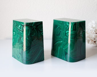 Vintage malachite green bookends mid century modern stone pair book ends