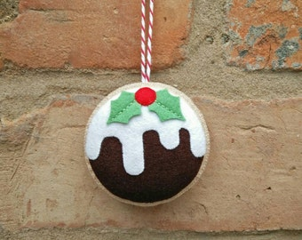 Felt Christmas pudding ornament
