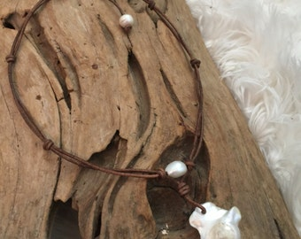 Huge Sculptural Fireball Pearl and Leather Necklace