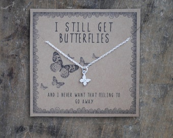 i still get butterflies .  silver layering necklace  .  Anniversar gift for girlfriend . gift for wife